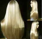 New!!! Fashion long mixed blonde straight human-made hair wigs+wig cap