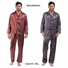 Men/'s Classy Polyester Satin Pyjama Set Paisley Print BARGAIN £9.99