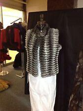 EMPRESS CHINCHILLA GREY STYLISH VEST SHRUG Sleeveless Jacket Lightweight LUXURY
