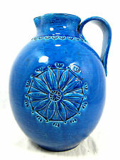"Rare  Aldo Londi design Bitossi  "" Rimimi blue "" pottery  jug  vase Italy 27 cm"