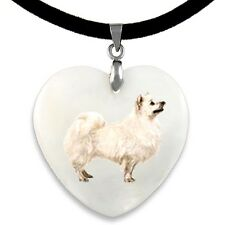 American Eskimo Dog Natural Mother Of Pearl Heart Pendant Necklace Chain PP267
