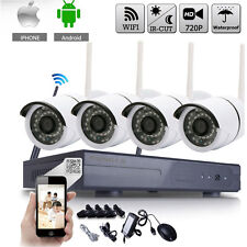 WIFI 720P Wireless 4CH NVR Outdoor Security IP Camera CCTV System Night Vision