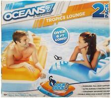 Oceans7 Tropics Lounge Swim Pool Flotation Devices 2 PACK Lounger Lilo Float NEW