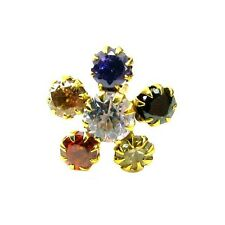Fascinating Multicolor CZ Piercing Nose Stud Pin Solid Real 14k Yellow Gold