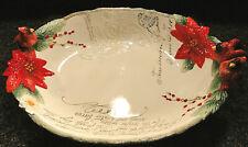 "New ListingFitz & Floyd Cardinal Christmas Centerpiece Bowl 49-753 - 19"""