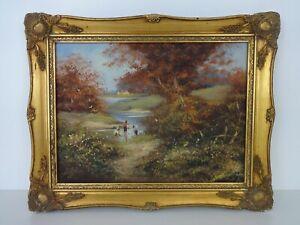 Les Parsons Original Painting Children Playing British Landscape Impressionist