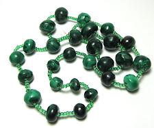 "Green Malachite Graduated Stone Bead & Glass Seed Bead Necklace 20.5"" 76 grams"