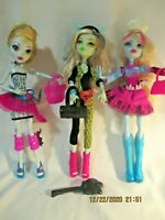 Monster High Dolls Frankie Stein Abbey Bominable Lagoona Blue Lot of 3