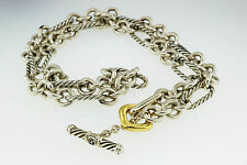 """DAVID YURMAN FIGARO STERLING SILVER & 18 KT GOLD 7 MM TOGGLE NECKLACE 18"""" CHAIN"""