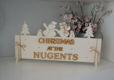 Christmas SIGN PERSONALISED Family Name Gift Ivory an Gold Xmas Decor