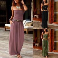 Womens Bandeau Holiday Off Shoulder Long Dress Ladies Summer Solid Maxi Dress UK