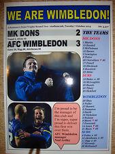 MK Dons 2 AFC Wimbledon 3 - 2014 - souvenir print