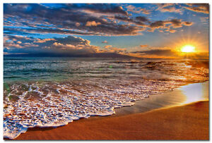 Sunset - Sea Beach Art Silk Poster Wall Pictures For Living Room 24x36 inch