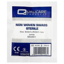 STERILE GAUZE SWABS (PACK OF 5) - 5cm x 5cm - X 5 PACKS = 25 WOUND DRESSINGS