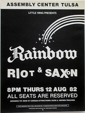 RAINBOW w/ Ritchie Blackmore - RIOT - SAXON August 12, 1982 concert poster TULSA