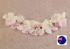 Women Wedding Pink Flower Bride Melbourne Cup Race Dance Hair Comb head piece