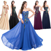GK Long Chiffon Peacock Formal Evening Ball Gown Prom Party Bridesmaid Dress