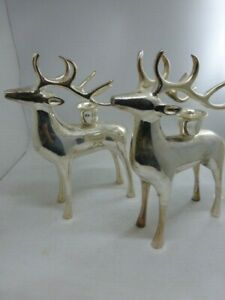 Pair of Potterybarn Christmas Reindeer Silver Plated Candleholders Original box