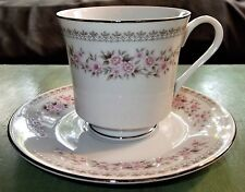 Alexandria Tea Coffee Cup and Saucer by Diamond China - Pink Flowers