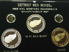 3 COINS DETROIT RED WINGS NHL 1995 WESTERN CONF CHAMPS 999 SILVER #35 OF 100
