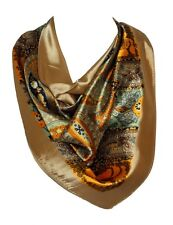 Floral Pattern Bandana Scarf Silk Satin Square Neck Head Wrap Olive Green
