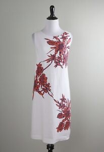 TOMMY BAHAMA $138 Red Floral Linen Keyhole Lined Shift Dress Size Medium