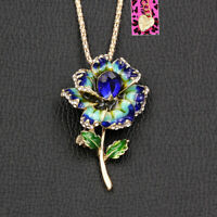 Women's Enamel Crystal Flower Pendant Chain Betsey Johnson Necklace/Brooch Pin