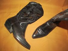 NINE WEST Women's 6 M Black leather cowboy cowgirl pull on boots N-Romney Brazil