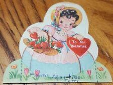 Valentine Day Vintage Greeting Card Flowers Bonnet Free Standing Personal Note
