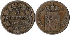 1852 Germany - Bavaria 3 Kreuzer Silver Coin KM#800 Mintage 282K