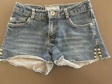 Girls LEVI STRAUSS Denim Shorts Size 10 Cut Offs Frayed Short Studded