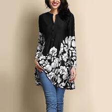 Women Vintage Long Sleeve Tunic Top Plus Baggy Casual Loose Blouse Shirt T-Shirt