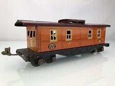 PREWAR LIONEL LINES TRAINS #1722 CABOOSE TINPLATE LITHOGRAPH TERRA COTTA-RED CAR