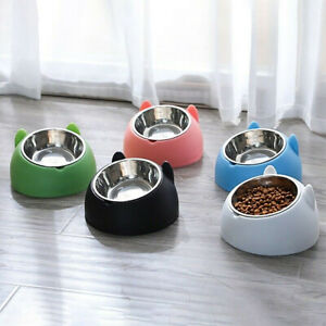 Cat Raised Bowl No-slip Stainless Steel Elevated Stand Tilted Feeder Bowl Fixed