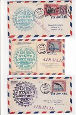 """Lynn MASSACHUSETTS 1929 """"United Stamp Societies"""" 3 Event Covers Air Mail !!"""