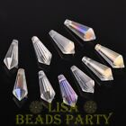 New 10pcs 20x8mm Chandelier Faceted Crystal Glass Pendant Loose Beads Clear AB