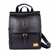 """Mens Faux Leather Backpack fit for 13.3"""" Laptop, Retro Rucksack School Book Bag"""