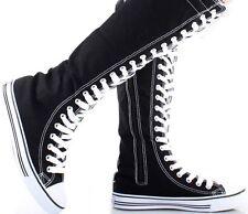Womens Canvas Sneaker Punk Flat Tall Lace Up  Knee High Boot Skater Shoe Sz 5-10
