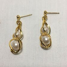 Vintage 14k Solid Yellow Gold Caged 2 Pearl Dangle Earrings 5mm - 8mm 2.4 Grams
