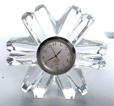 Lenox Quartz Snowflake Crystal Cut Glass Paperweight Clock Office Desk Vtg 4�