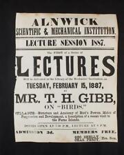 More details for alnwick ephemera, 1887 broadsheet birds lecture t h gibb mechanics' institute