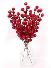 12 Red Berry Stem Picks Decorative Wire Stem Branch Sprays For Christmas Tree
