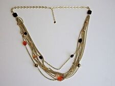Stunning Multi-Strand Gold Tone Chains Colorful Plastic Bead Accents Necklace