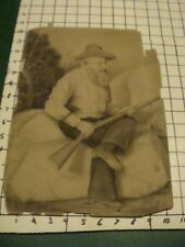 original drawing: MAN SITTING W GUN AND PISTOL, damaged, from 1800's as is
