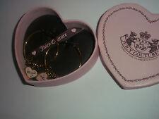 """Juicy Couture """"LOVE JUICY"""" Gold Tone Charm Hoop Earrings/Pearl/Crystals/Heart"""
