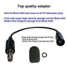 Bose A20 Lemo 6 pin to helicopter Nexus U174/U  aviation headset adapter UFQ