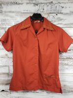 Vintage 70s King Louie Women's Size 36 Bowling Shirt Orange, Embroidered Collar