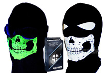 KIDS GLOW IN THE DARK SKULL SKI FACE MASK+CALL OF DUTY GHOST DOG TAGS ACTIVISION