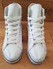 Lona para Mujer Plataforma Plana H601 Zapatillas/bombas en blanco Size UK 5