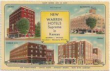 Warren Hotels in Salina, McPherson, Gardn City and Liberal KS Postcard